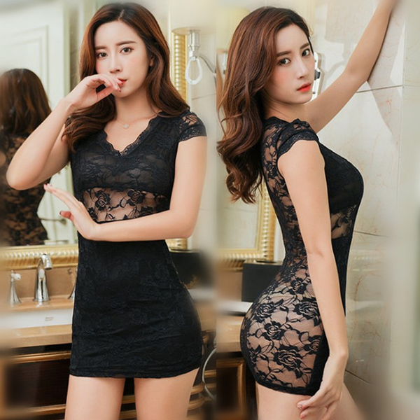 Dress Sexy lingerie transparent lace nightdress