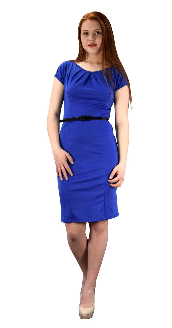 Dress Womens Cap Sleeves Pleated Neck Line Belted Sheath Dress
