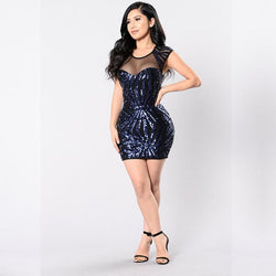 Dresses Blue / XXL explosion mesh sequined dress