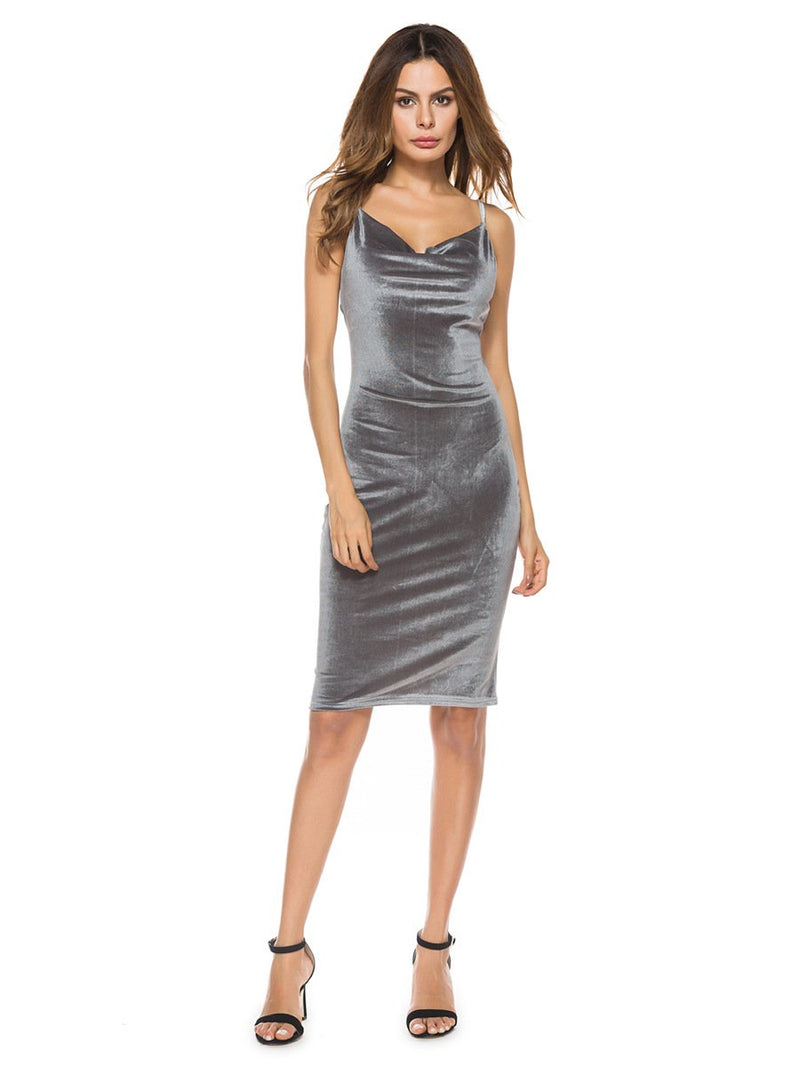 Dresses Gray / M sexy women's cocktail party dress