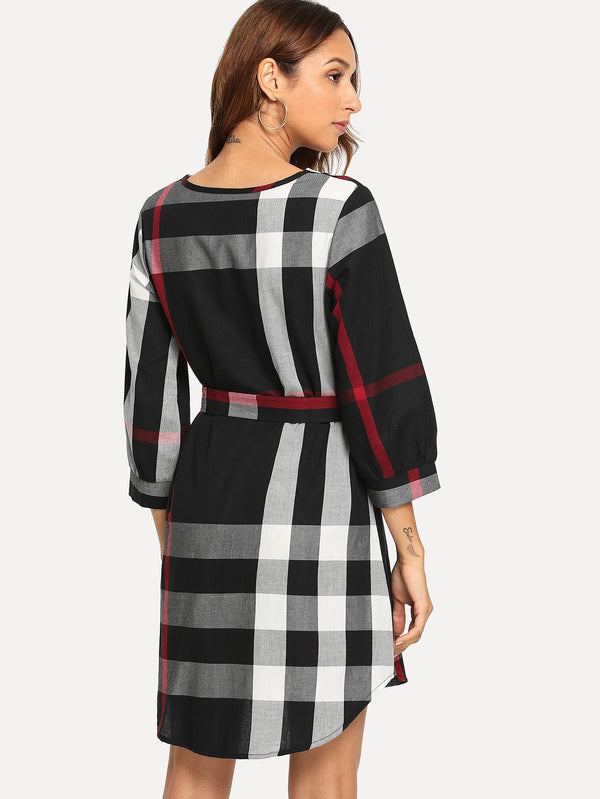Dresses Plaid Tie Waist Dress