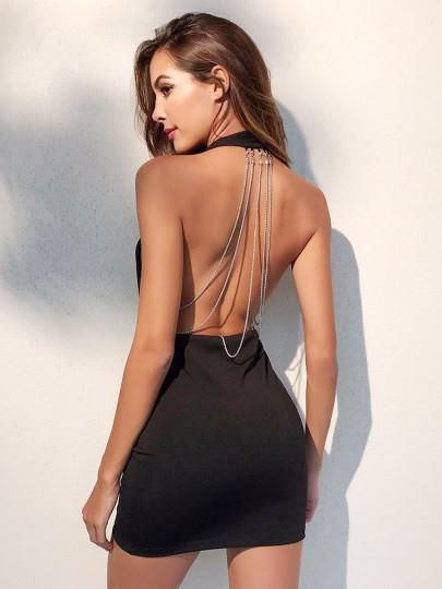 Dresses Plunging V-neckline Surplice Backless Halter Dress