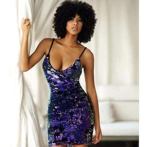 Dresses Violet / XL V sexy straps nightclub party magic sequin dress