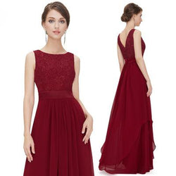 Dresses Wine red / XL Lace dress with irregular hem
