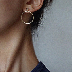Earrings Golden Handmade Minimalist Series Gold Beads Geometric Ring Earrings
