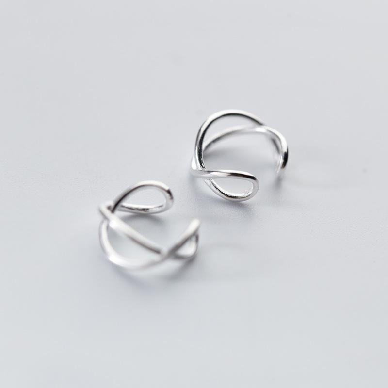 Earrings Silver Irregular knot knot ear clips without piercings
