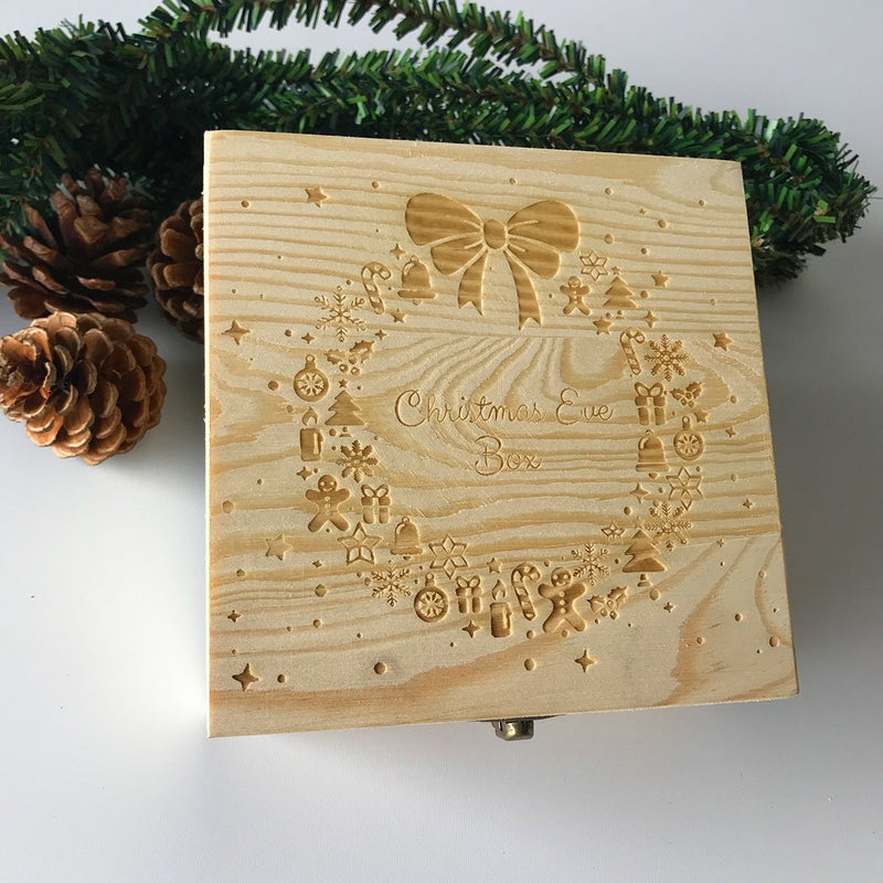 Home Decor 20*20*9cm Christmas Wooden Carving Gift Box