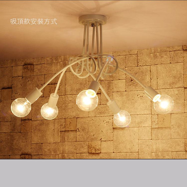 Home Decor 5 iron art personality creative dining room ceiling lamp