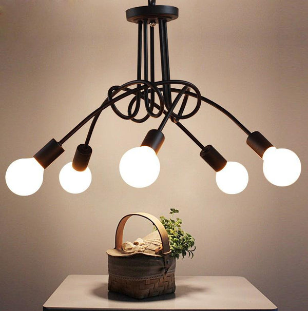 Home Decor Black / B 5 iron art personality creative dining room ceiling lamp