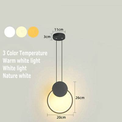 Home Decor Black circle / Tricolor Led small Chandelier
