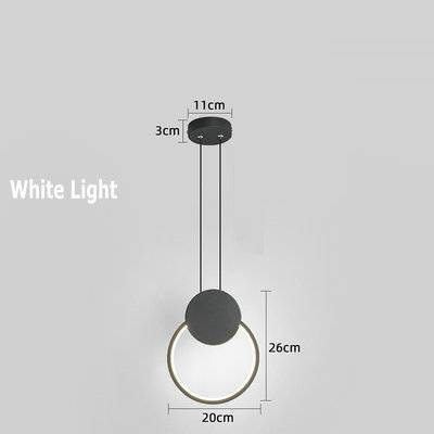 Home Decor Black circle / White light Led small Chandelier