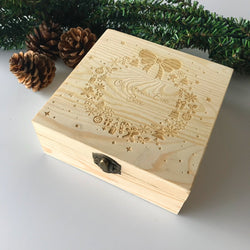 Home Decor Christmas Wooden Carving Gift Box