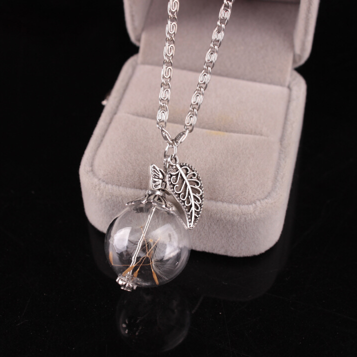 Jewelry : Necklaces Silver Glass cover dandelion seed  necklace
