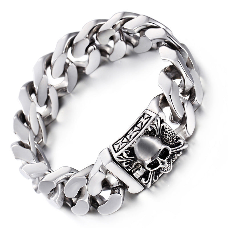 Jewelry Silver Men's stainless steel skull bracelet