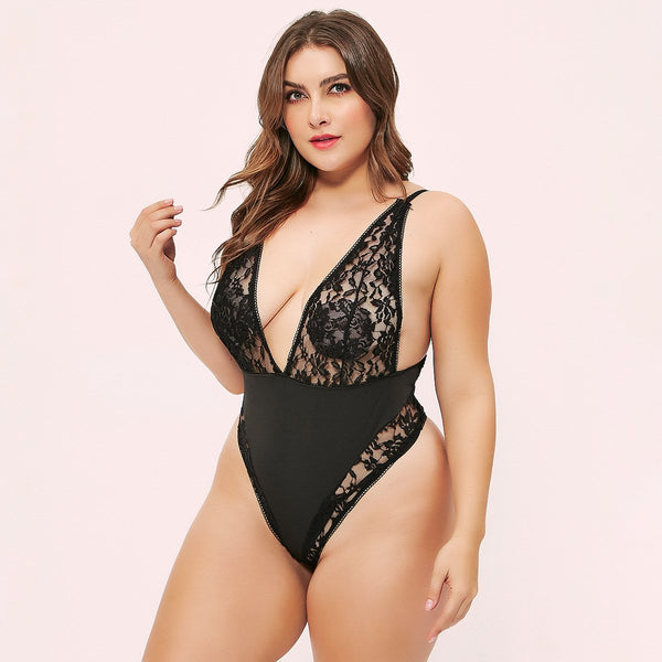 Jumpsuits & Rompers Sexy fashion deep V lace lace mesh bodysuit