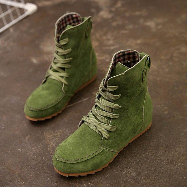 Men Shoes Green / 36 Flat bottom strap fastening boots