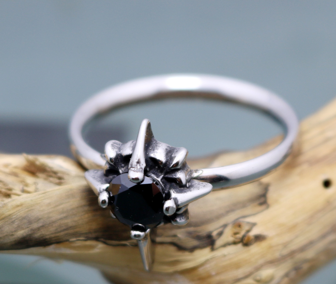 Rings Black / Us6 Black and White Clear Stone Ring