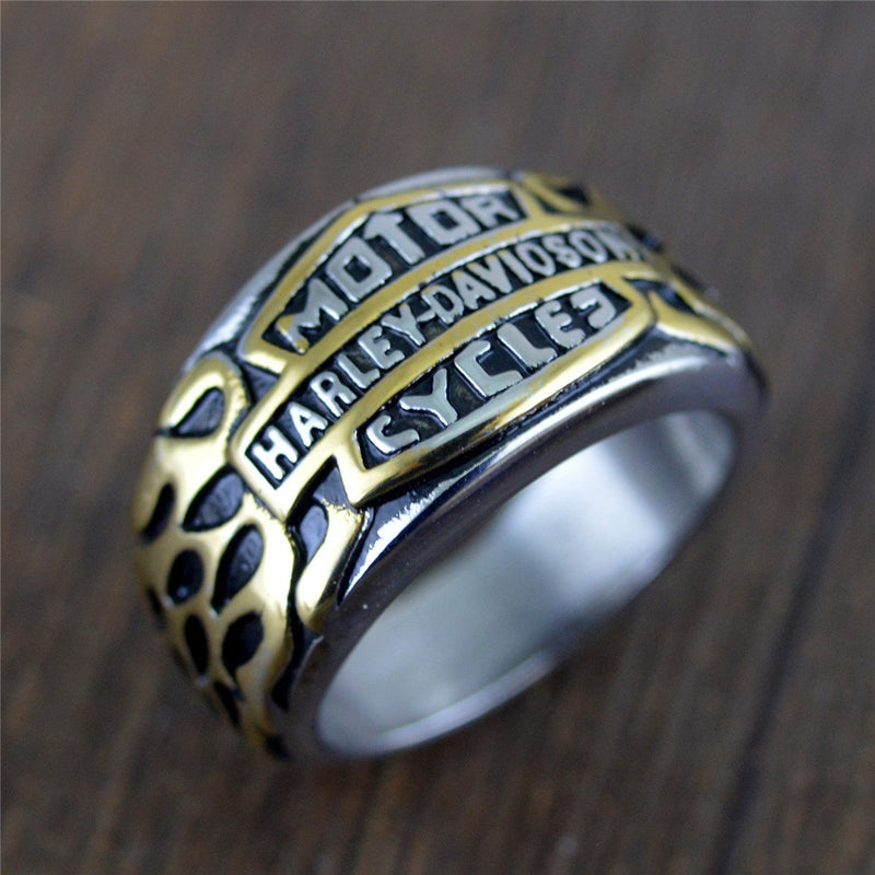 Rings Gold / 10 Personality creative shield domineering locomotive Harley men's ring