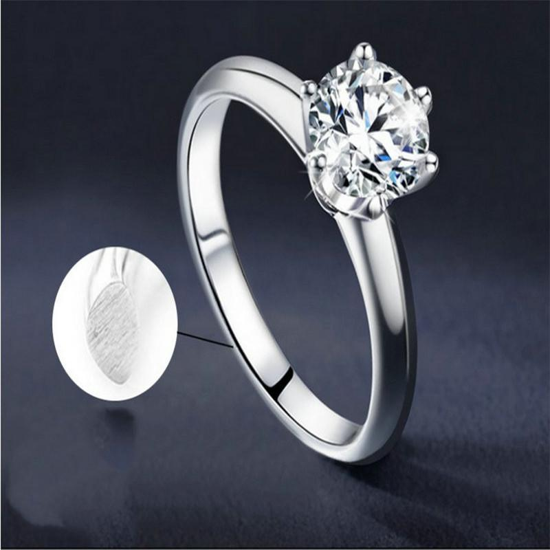 Rings Platinum Plated 925 silver ring with Moissanite stone