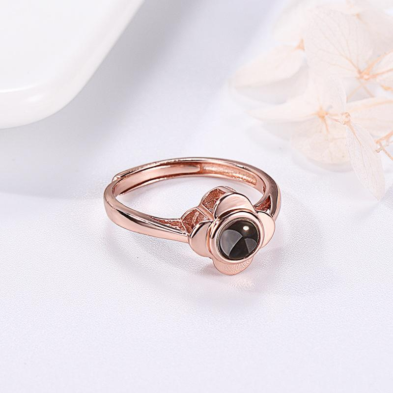 Rings Rose Red Projection Ring for Women Adjustable Couple Rings Flower Shape