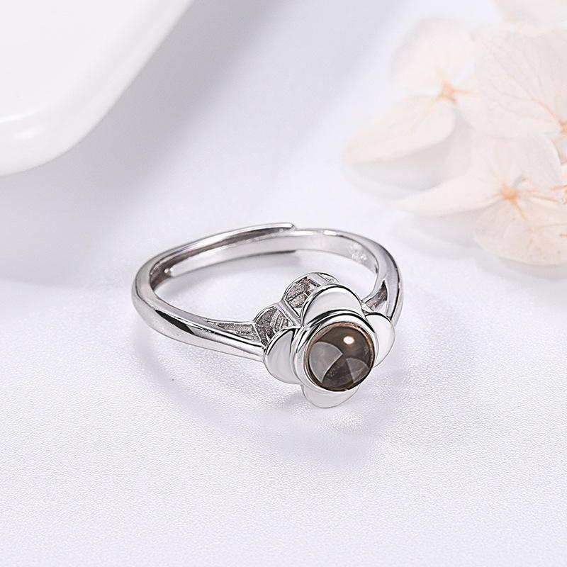 Rings Silver Projection Ring for Women Adjustable Couple Rings Flower Shape