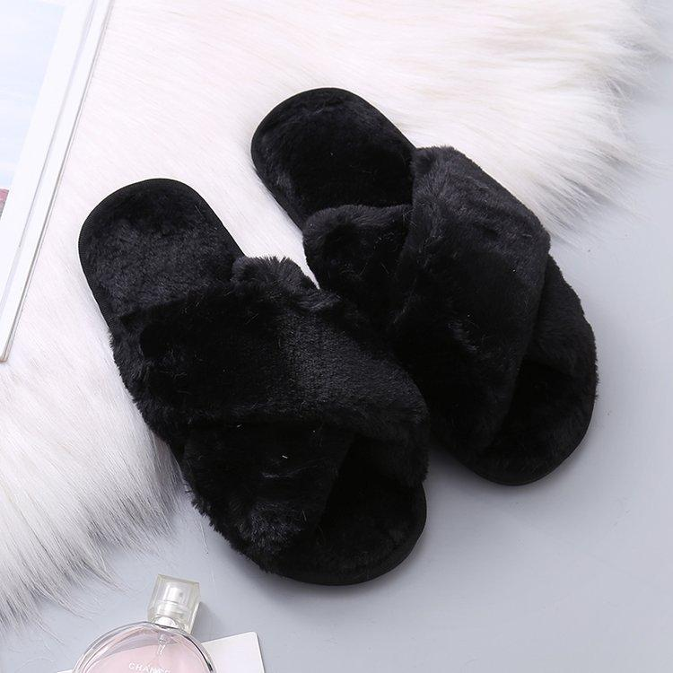 shoes Black / 40-41 Cozy home furry slippers