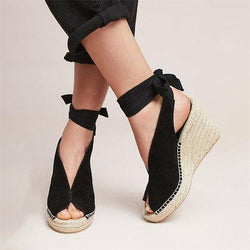 shoes Black / 43 Straw wedge heel strap sandals