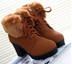 shoes brown / 39 British style high heel cotton boots