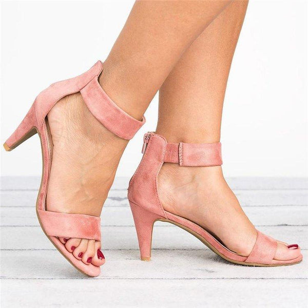 shoes Pink / 43 Button-down open-toe sandals