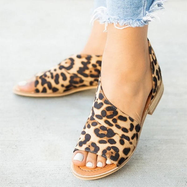 shoes Side air back with fish mouth leopard sandals
