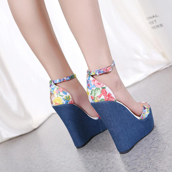 shoes Wedge printed sandals