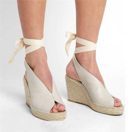 shoes White / 39 Straw wedge heel strap sandals