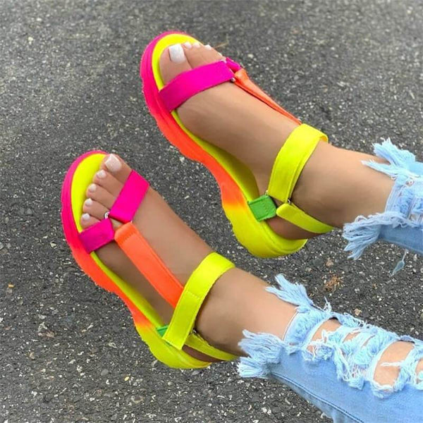 shoes Yellow / 35 Fashion fish strap sandals
