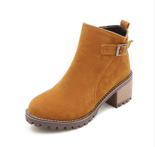 shoes Yellow / 41 Fashion wild short boots female thick with non-slip bottom round head women's boots with Martin boots women's shoes single boots British student boots