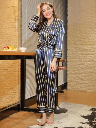 Sleepwear Striped Knot Hem Pajama Set