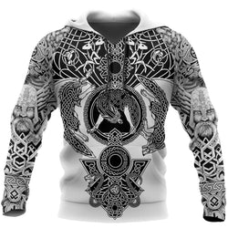 Sweater 3XL Viking Tattoo All-Over Print Hoodie