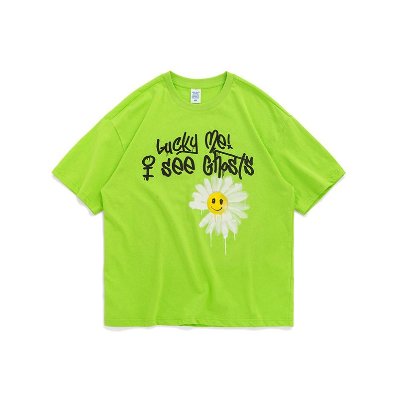 T-Shirt Green / XL Graffiti Daisy Smiley Short Sleeve
