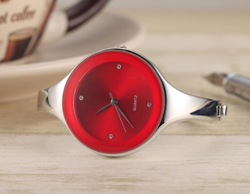 Watches: Ladies Red / S Round Bracelet Watch