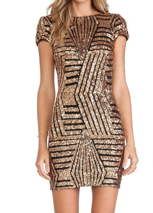 Women Clothing Black gold / M Gold sequined short sleeve hip dress