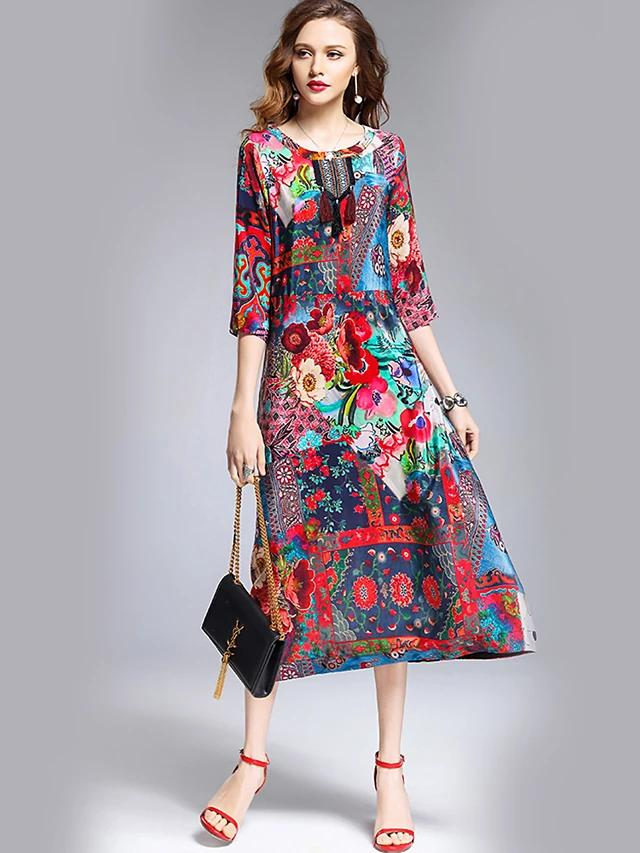 Women Clothing Going out Floral Print Spring Dress