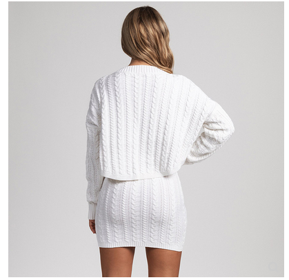 Women Clothing Knitted two-piece sweater party skirt suit