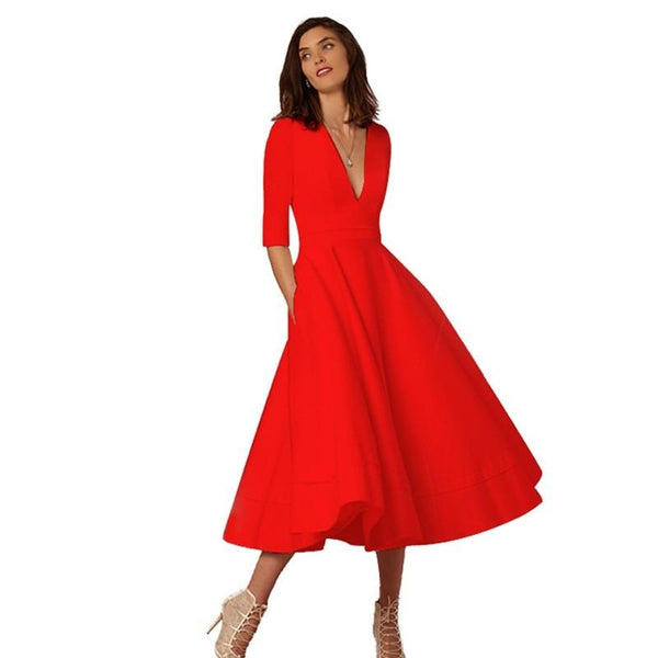 Women Clothing Red / L V-neck Dresses - Retro 60s Swing Sleeve