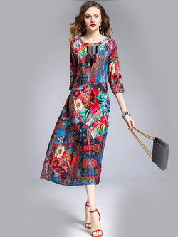Women Clothing Red / M Going out Floral Print Spring Dress