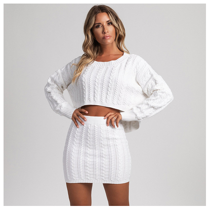Women Clothing White / S Knitted two-piece sweater party skirt suit