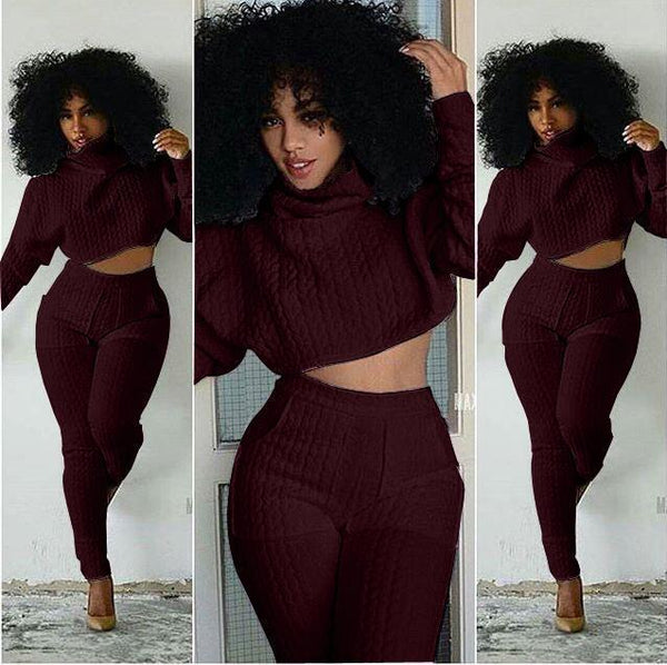 Women Clothing Wine red / L Fashion Two-Piece Set Big Scorpion Striped White Pile Collar Casual Siamese Set
