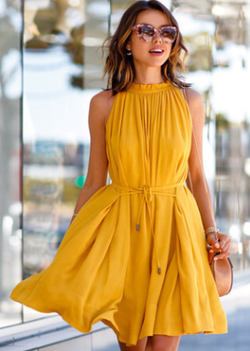 Women Clothing Yellow / M Pleated Halter Sleeveless Dress