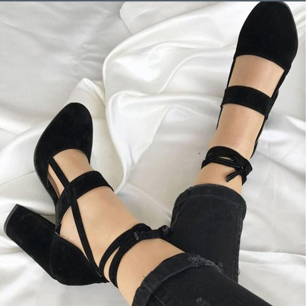 Women Hills Black / 41 Thick and suede ankle strap with thick heel sandals