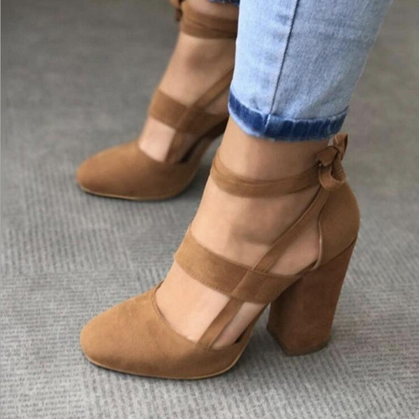 Women Hills Brown / 37 Thick and suede ankle strap with thick heel sandals