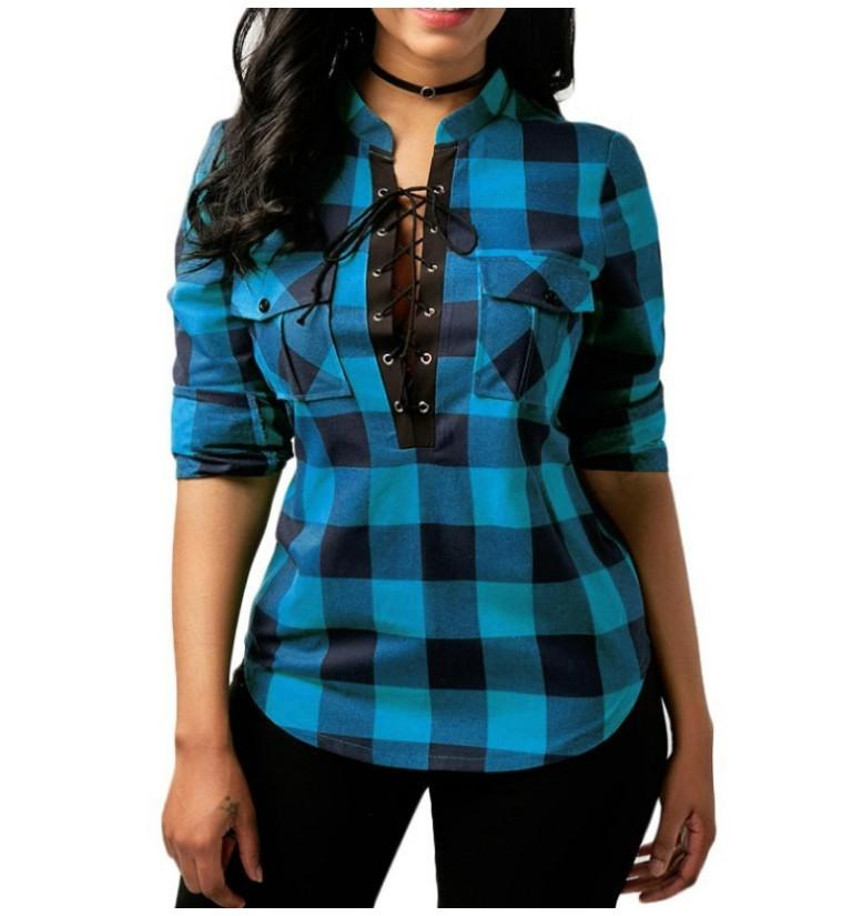 Women's Clothing Blue / 4XL Tops And Blouses Casual Plaid Shirts Long Sleeve Office Women Blouse