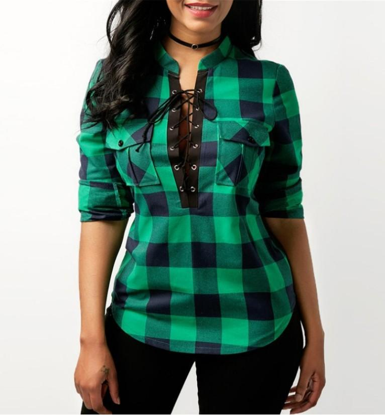 Women's Clothing Green / 2XL Tops And Blouses Casual Plaid Shirts Long Sleeve Office Women Blouse